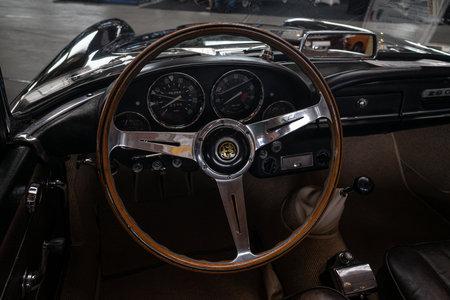PAAREN IM GLIEN, GERMANY - JUNE 08, 2019: Interior of luxury car Alfa Romeo 2600 Spider, 1963. Die Oldtimer Show 2019. Editorial