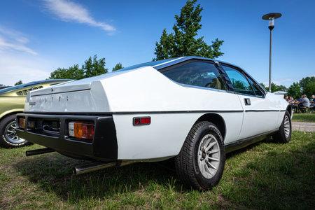 PAAREN IM GLIEN, GERMANY - JUNE 08, 2019: Sports car Lotus Eclat, 1977. Rear view. Die Oldtimer Show 2019.
