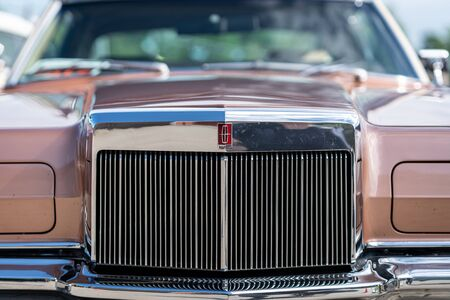 PAAREN IM GLIEN, GERMANY - JUNE 08, 2019: Fragment a two-door personal luxury coupe Lincoln Continental Mark III, close-up. Die Oldtimer Show 2019.