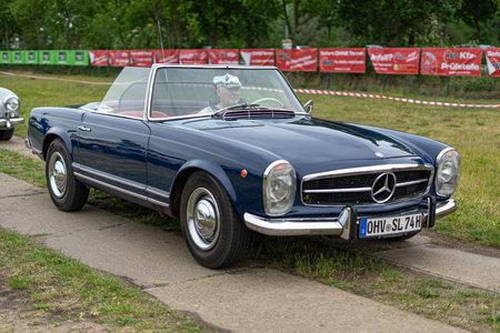 PAAREN IM GLIEN, GERMANY - JUNE 08, 2019: Sports car Mercedes-Benz (W113) Pagoda, 1974. Die Oldtimer Show 2019. Editorial