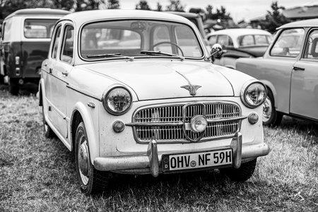PAAREN IM GLIEN, GERMANY - JUNE 08, 2019: Compact car NSU-Fiat 1100/Neckar Europa, 1959. Black and white. Die Oldtimer Show 2019.