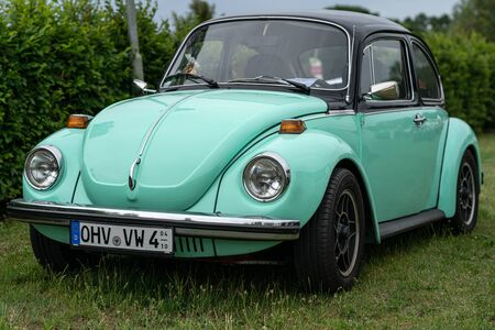 PAAREN IM GLIEN, GERMANY - JUNE 08, 2019: Economy car Volkswagen Beetle. Die Oldtimer Show 2019.