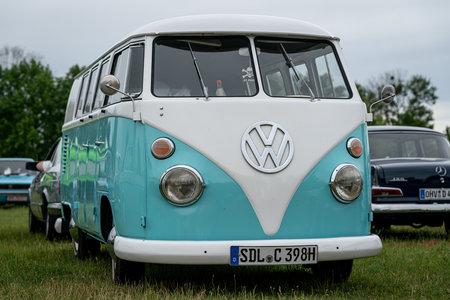 PAAREN IM GLIEN, GERMANY - JUNE 08, 2019: Minibus Volkswagen Type 2 (Samba Bus), first generation.  Die Oldtimer Show 2019. Stock Photo - 126924839