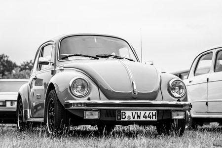 PAAREN IM GLIEN, GERMANY - JUNE 08, 2019: Economy car Volkswagen Beetle. Black and white. Die Oldtimer Show 2019. Editorial