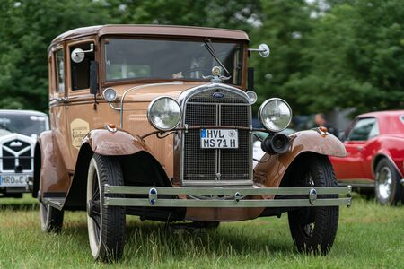 PAAREN IM GLIEN, GERMANY - JUNE 08, 2019: Retro car Ford Model A Limousine 1930. Die Oldtimer Show 2019.