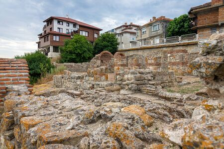 Ruins of Church of the Holy Mother Eleusa. Ancient historical town of Nessebar. Bulgaria.