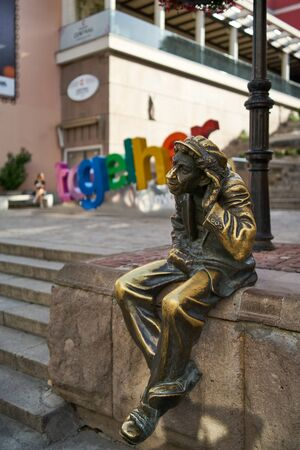 PLOVDIV, BULGARIA - JULY 02, 2019: Sculpture of Miljo - unofficial mascot of the city. Plovdiv is the second largest city in Bulgaria. 에디토리얼