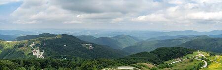 Shipka Pass - a scenic mountain pass through the Balkan Mountains in Bulgaria. Panoramic view.
