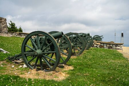 Old cannons on the place of Battle of Shipka Pass during Russian–Turkish Liberation war (1877–1878). Bulgaria. Focus in the center.