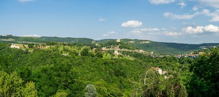 Panoramic views of the valley and slopes of the Yantra River and the surroundings of Veliko Tarnovo. Bulgaria.