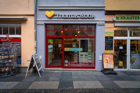 BAUTZEN, GERMANY - OCTOBER 10, 2019: Office of the travel agency Thomas Cook Group. The largest British travel agency went bankrupt on September 23, 2019.