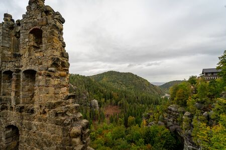 The ruins of Burg Oybin (1369) in the Zittau Mountains on the border of Germany (Saxony) with the Czech Republic.