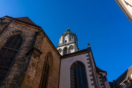 Meissen. Germany. The bell tower of the Church of Our Lady in the old town.