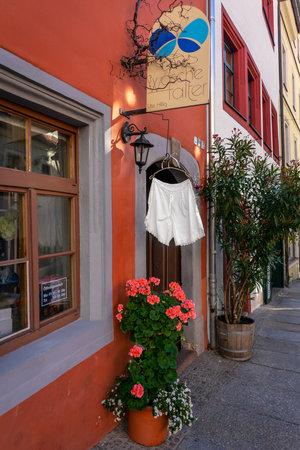 MEISSEN, GERMANY - OCTOBER 12, 2019: Lingerie store (Ute Hillig Miederwaren Waeschefalter) in the old city.