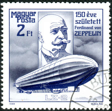 HUNGARY - CIRCA 1988: A stamp printed in Hungary, dedicated to Count Ferdinand von Zeppelin (1838-1917), Designer of Dirigibles, depicted the portrait and airship LZ-2, (1905), circa 1988