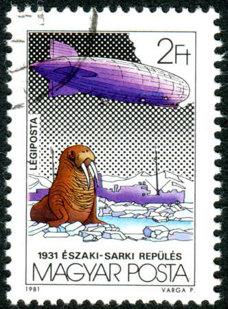 HUNGARY - CIRCA 1981: A stamp printed in Hungary, depicted the Graf Zeppelin airship, Icebreaker Malygin and Walrus (Odobenus rosmarus), Polar flight, July 24-31, 1931, circa 1981