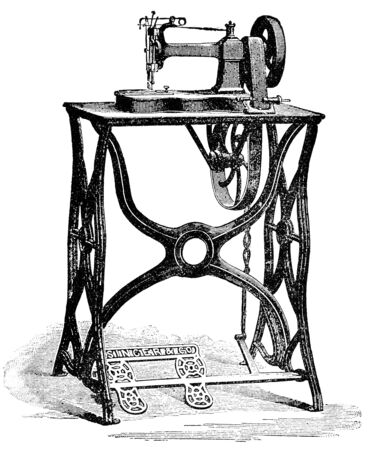 The second model is a Singer sewing machine. Illustration of the 19th century. White background.