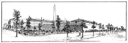 Fresnes Prison, located in the town of Val-de-Marne South of Paris, France. Illustration of the 19th century. White background.