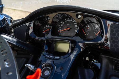 BERLIN - MAY 05, 2018: Dashboard of touring motorcycle Honda Gold Wing GL1800.