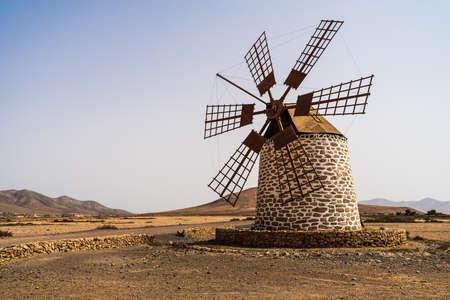 A typical Fuerteventura windmill (Los Molinos). Canary Islands. Spain.