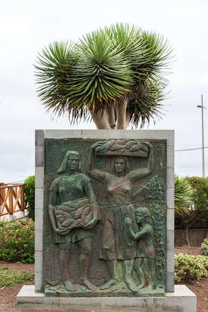 PUNTA DEL HIDALGO, CANARY ISLANDS - JULY 06, 2021: Monument to Sebastian Ramos