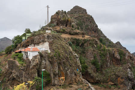 BEJIA, CANARY ISLANDS - JULY 06, 2021: House on the rocks. The mountain village of Bejia. Editorial