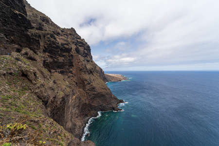 Rocky coast of the Atlantic Ocean. View from the observation deck - Mirador Punta del Fraile. Tenerife. Canary Islands. Spain.
