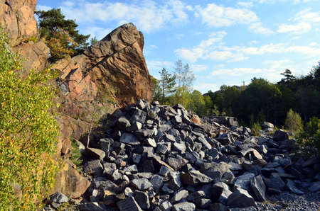 ridge of wave: quarry in larvik,  norway at a sunny day, blue sky