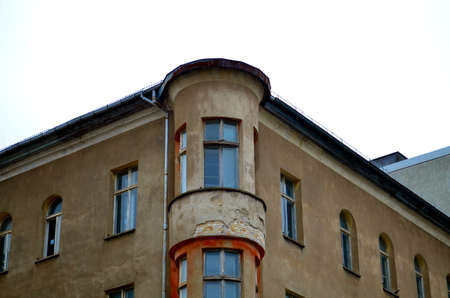 renovate old building facade: old facade of residential houses in berlin