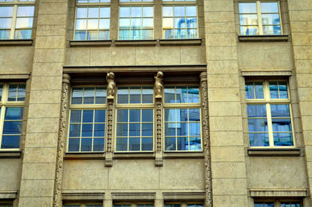rehabilitated people: old art nouveau buildings with angels typical for berlin Stock Photo