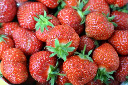 strawberrys: closeup of bunch of fresh big strawberrys
