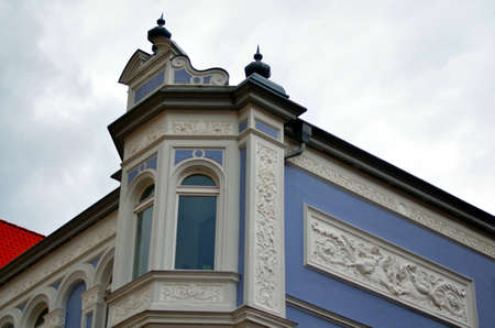 corner and facade of an old building in Stralsund, germany Stock Photo