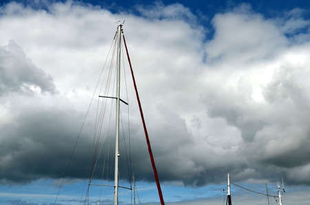 top of a sailing boat with cloudy sky at baltic sea