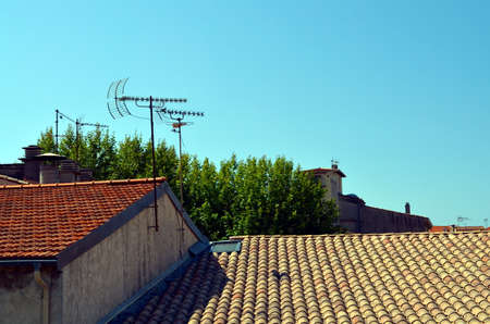 mediterranean houses: roofs of mediterranean houses with antennas, france