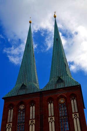 st german: old medieval st. nikolai church in berlin