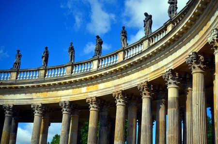 nostalgy: parallel coloumns as part of castle sancoussi in Potsdam during sunshine