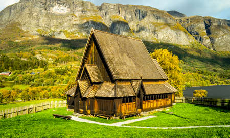 norwegian: wooden stavechurch in norwegian lonelyness