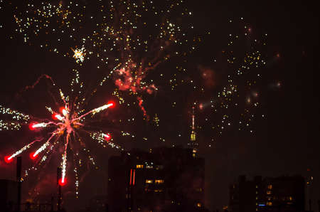 new year fireworks in berlin with tv tower Stock Photo