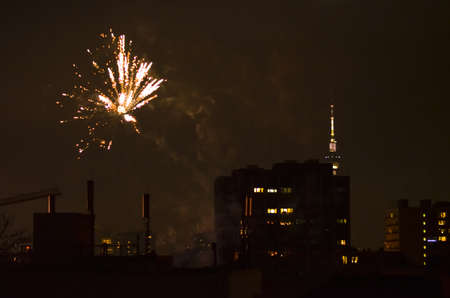 pyrotechnics: new year fireworks in berlin with tv tower Stock Photo