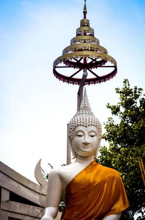 white buddha statue at thai temple Stock Photo