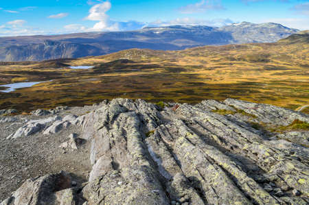 rocky landscape in norway with leading lines