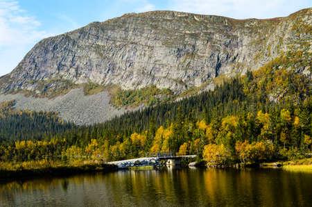 massive rocks at fjord landscape in norway