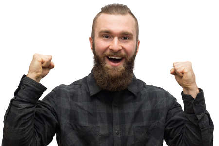 depicts: The photo depicts a bearded man on a white background