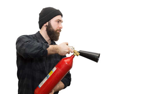 extinguish: The photo depicts a bearded man on a white background