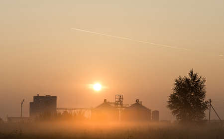 flour mill: The photo depicts a flour mill at sunrise