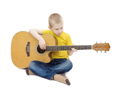the photograph depicts a boy on a white background Stock Photo
