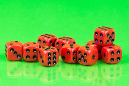 cubes for Board games on green background, dice