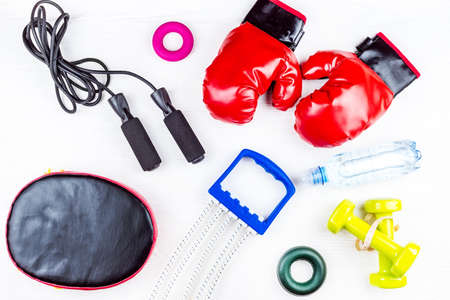 sports equipment for fitness on a white background Stock Photo