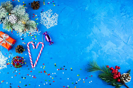 New Year and Christmas toys on a blue background 免版税图像
