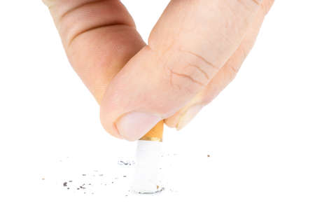 cigarette butt. single. isolated on white background, man puts out a cigarette